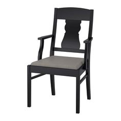 IKEA INGATORP Chair with armrests Black/nolhaga grey-beige Perfect for long dinners since the length and height of the armrests, the angle of the backrest and the extra thick seat make the chair comfortable to sit on. Ikea Dining Chair, Cool Desk Chairs, Ikea Armchair, Black Armchair, Comfy Armchair, Cheap Office Chairs, Upholstered Chairs, Dining Furniture, Armchair Sale