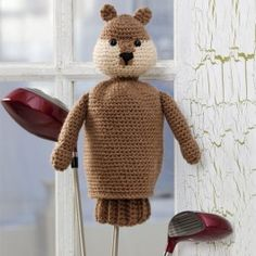 "Free Crochet Pattern--Gopher Golf Club Cover--Follow the advice of ""Caddyshack"" golf legend Ty Webb and be the ball! If you can't beat the varmints, join them, with this cute (and non-destructive) crochet gopher golf club head cover. Or, crochet Dad one of these for a Father's Day gift -- he'll feel like he made a hole-in-one!"