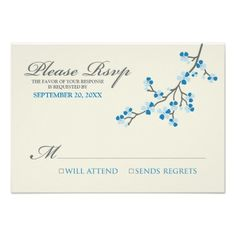 DealsCherry Blossoms RSVP Card (blue/grey) Personalized Inviteswe are given they also recommend where is the best to buy