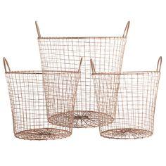House Doctor Wire Kurve i Kobber Sæt af 3 stk. Copper Wire Basket, Wire Baskets, Storage Baskets, Storage Ideas, House Doctor, Copper Furniture, Solid Wood Furniture, Warehouse Home, Kitchen Pantry Storage