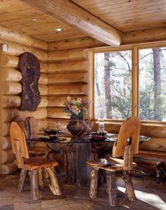 Here is a fine example of using natural log furniture to accent your log home. Natural elements add color and texture. Lots for the eye to look at.