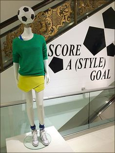 Soccer Style at Bloomingdales Scores – Fixtures Close Up Bloomingdale's Soccer Scores Style Goal Display Retail Fixtures, Store Fixtures, Soccer Scores, Window Display Retail, Clothing Displays, Point Of Purchase, Retail Design, Visual Merchandising, Fifa