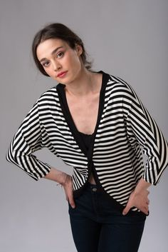 Blouses – Striped blouse in black and white. – a unique product by lovecuts on…