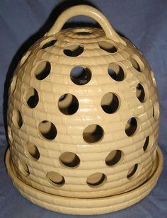 "WEDGWOOD 1860 CANEWARE BEE HIVE SHAPED CROCUS POT 8"" HIGH"