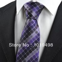 free shipping 2pcs high quality men tie brand new Purple Checked Pattern JACQUARD WOVEN Microfiber Men's Tie Necktie,Width 8.5cm