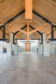 Image 16 of 23 from gallery of Anura Vineyards / M&B Architects + Inhouse Brand Architects. Photograph by Riaan West Photography Timber Ceiling, Wood Ceilings, Gym Interior, Interior And Exterior, Green Barn, Function Hall, Events Place, Starter Home, Hall Design