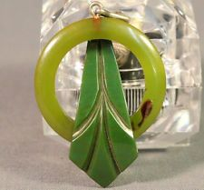 1930s Art Deco Apple Green Hand Carved Bakelite Brooch Pin