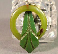 1930s Art Deco Apple Green Hand Carved Bakelite Brooch Pin