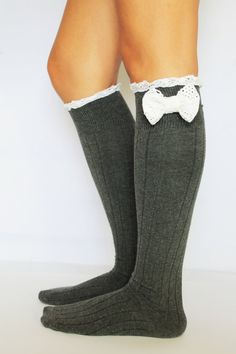 gray bow lace leg warmers socks by salihadilber on Etsy, $18.90