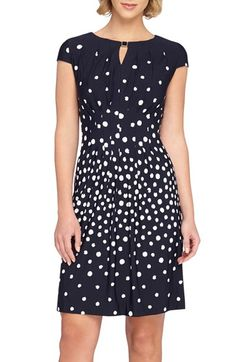 Tahari Polka Dot Fit & Flare Dress (Petite) available at #Nordstrom