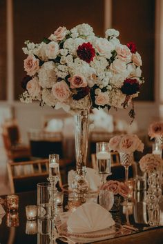 Gatsby Inspired Wedding - Stunning Floral - Table Decor - Blush, Burgundy, White, Gold - but in my wedding colors Floral Wedding, Wedding Colors, Wedding Bouquets, Wedding Flowers, Burgundy And Blush Wedding, Burgundy Flowers, Red Blush, Wedding Table, Fall Wedding
