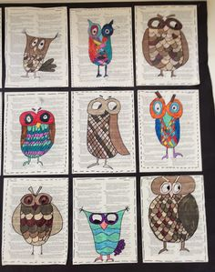 Apex Elementary Art: Owl always love art. Owl drawings on old book pages? Meets standard for using found objects Animal Art Projects, Fall Art Projects, Classroom Art Projects, School Art Projects, Art Classroom, Owl Art, Bird Art, 2nd Grade Art, Book Page Art