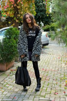 every bloody thing. coat, bag, boots, black coffee #style #winterfashion