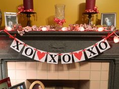 Valentines Day Garland XO XO XO and Hearts by anyoccasionbanners