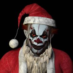 They scary Santa Clown -- so you better watch out cause he is coming to town. FOR YOU! | 15 Types Of Stock Photo Clowns That Will Haunt Your Dreams