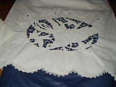 Vintage Handmade 'Love Bird' lg. Sheet & 2 Pillowcases Set Cut work / Embroidery