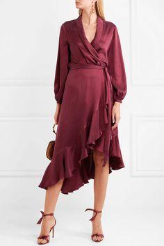 Zimmermann   Asymmetric washed-silk wrap midi dress   NET-A-PORTER.COM