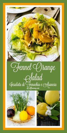Fennel Orange Salad with aromatic fennel, sweet orange segments, slivered purple onion, crunchy romaine and dressed with a sweet citrus vinaigrette @allourway.com