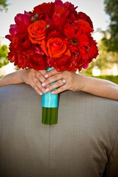 Teal/Red wedding flower bouquet, bridal bouquet, wedding flowers, add pic source on comment and we will update it. www.myfloweraffair.com can create this beautiful wedding flower look.