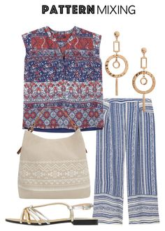 """""""Pattern Mixing"""" by shistyle ❤ liked on Polyvore featuring MANGO, Violeta by Mango, plussizefashion and patternmixing"""