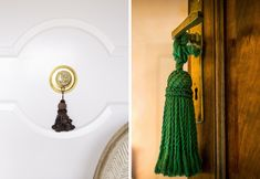 This old-fashioned decor item adds a bit of frivolous fun to any door, especially in a room with trad influences.