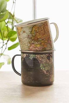 Just bought one of the classical and felt inmediatly again with enamel mugs. Enamel Map Mug - Urban Outfitters Coffee Shop, Coffee Cups, Coffee Coffee, Cool Mugs, My Cup Of Tea, Tea Mugs, Mug Cup, Enamel, Pottery