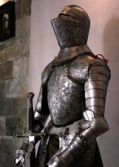 Medieval Crusader Knight in Suit of Armor & Sword Knight In Shining Armor, Knight Armor, Medieval Knight, Medieval Armor, A Knight's Tale, Crusader Knight, Ancient Armor, Armor Tattoo, Man Of War