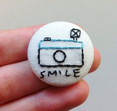 Embroidery photo camera pinback button   by Gluckhandmade on Etsy, €5.00