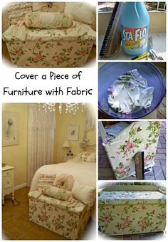 Starching fabric to wood to refinish a furniture piece non-permanently!  Shabby Chich Trunk Makeover