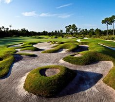 PGA Village Golf Resort's Dye Course in Port St. Lucie, Florida. Designed by Pete Dye, a beautiful and creative links-style course.