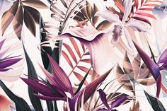 Tropical flowers and leaves vintage by mystel on @creativemarket