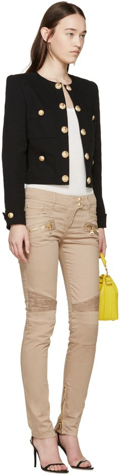 Balmain for Women Collection Tan Jeans, Khaki Pants, Skinny Biker Jeans, Balmain Clothing, Stuff To Buy, Shopping, Collection, Women, Fashion
