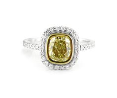 An White and Yellow Gold Fancy Coloured Cushion Cut Diamond Ring Cushion Cut Diamond Ring, Cushion Cut Diamonds, Halo Diamond, Diamond Rings, Diamond Engagement Rings, Yellow Cushions, Halo Rings, Vintage Rings, Colored Diamonds