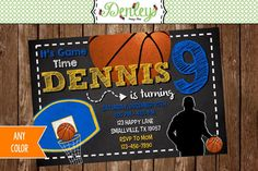 Customized Digital Basketball Birthday Invitation. Listing is for one printable 4 x 6 digital design! HOW TO PURCHASE: 1. Add item to your cart and follow checkout process. 2. In your note to seller, include the following information: Name of child Age of child Date of event Time of event