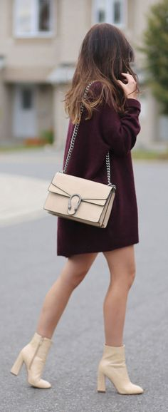 In love with this burgundy sweater dress! The most comfortable and softest dress you will ever own - under $100! Paired with nude booties and Gucci Dionysus lookalike bag under $50! Styled by Marie Ernst of Marie's Bazaar #fashion #fashionblogger #sweaterdress #booties