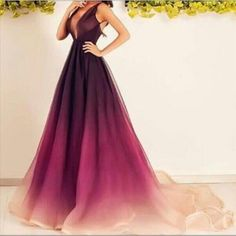 Hot Sale Ombre Prom Dresses With Sexy Deep V Neck And Small Train Chiffon Long Prom Gowns With Sleeveless Custom Made Long White Prom Dress Low Back Prom Dresses From Liuliu8899, $145.23| Dhgate.Com
