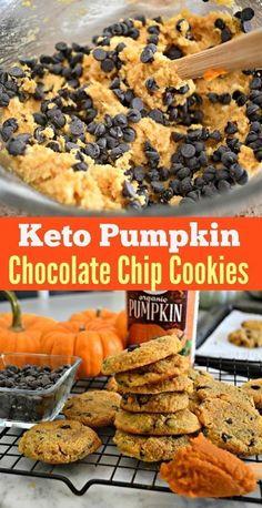 Bake These Keto Pumpkin Chocolate Chip Cookies! - Keto Recipes - Ideas of Keto Recipes - Keto Pumpkin Chocolate Chip Cookies Keto Desserts, Keto Friendly Desserts, Keto Snacks, Dessert Recipes, Cookie Recipes, Keto Friendly Chips, Carb Free Desserts, Snacks Recipes, Keto Foods