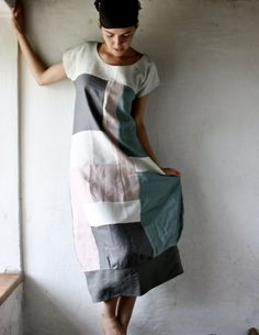 Linen Tunic dress in patchwork linen - grey and white LINEN LOVE