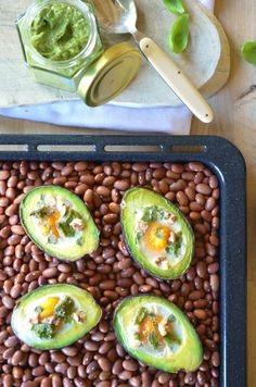 Avocado Boats with Eggs and Creamy Pesto - That Healthy Kitchen Veggie Fries, Veggie Stir Fry, Avocado Boats, Savory Oatmeal, Fresh Guacamole, Creamy Pesto, Sweet Breakfast, Breakfast Smoothies, Dairy Free