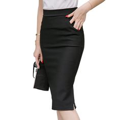 28bb3eb9b4bbc 2017 Spring Autumn Fashion High Waist Knee-Length Pencil Skirts Plus Size M- 5XL