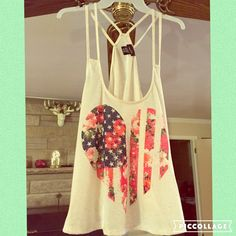 MULTI STRAP BACK TANK 4 straps make for a sexy top! Total tank length lying flat is 23 3/4 inches. Color is a white/oatmeal with the flag/heart/floral colors. All polyester fabric. Rue 21 Tops Tank Tops