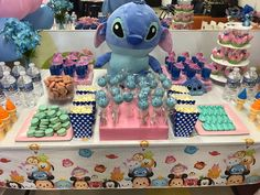 Tsum tsum lilo & stitch theme kids birthday party blue and pink color