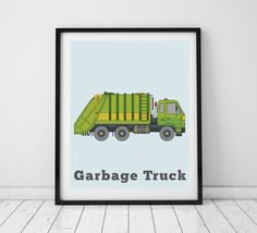 Truck Prints for Boys Rooms Garbage Truck by LittleGrippersStore