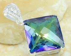 Genuine Mystic Topaz Pendant set in Gemstone Jewelry, Jewelry Rings, Jewellery, Unique Jewelry, Mystic Topaz, Necklaces, Bracelets, Pendant Set, Rainbow Colors