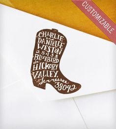 Custom Rubber Address Stamp with Hand-Drawn Cowboy Boot