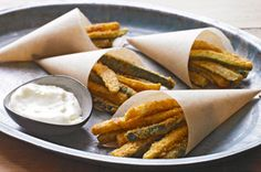 Baked Zucchini Fries - Slice zucchini, dip in egg, shake in bag with Parmesan cheese and chicken bake seasoning. Bake 450 Degrees for 12-13 Mins