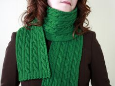 Irish Hiking Scarf.  A great first cabling project knit with worsted weight yarn.  You can make this with only two skeins of Cascade 220!