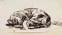 Study of a Sleeping Cat late - c. William Holman HUNT Birmingham Museums and Art Gallery, pen and ink drawing Illustrations, Illustration Art, John Everett Millais, Birmingham Museum, International Cat Day, Museum Art Gallery, Cat Sketch, Pre Raphaelite, Cat Drawing