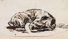 William Holman Hunt (1827-1910) - Study of a Sleeping Cat - late 19th c.