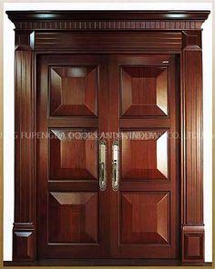 Breezeway~This door design would be the perfect door at both ends of the breezeway. Wooden Front Door Design, Double Door Design, Wood Front Doors, The Doors, Entrance Doors, Wooden Doors, Home Door Design, Door Gate Design, Door Design Interior